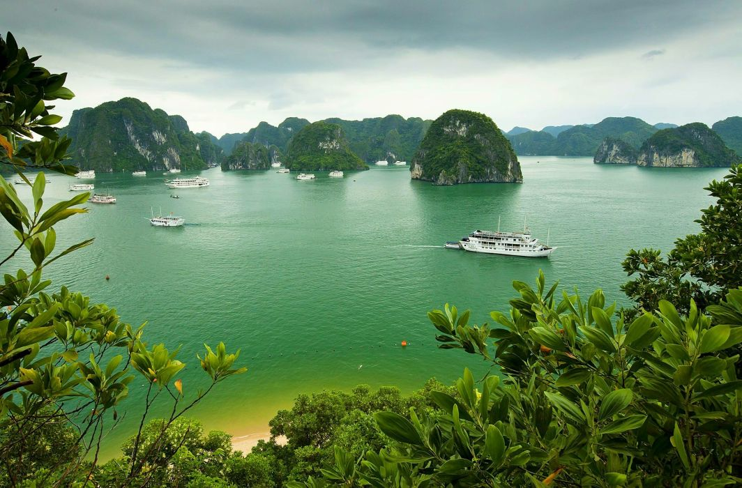 Halong Bay Vietnam island ship boat wallpaper