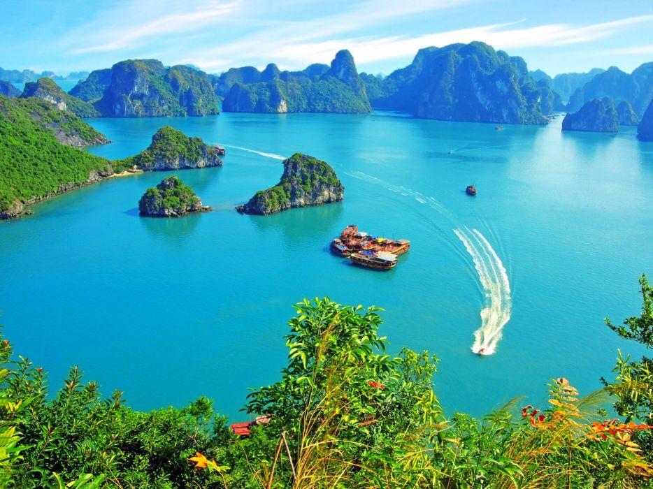 Halong Bay Vietnam island island boat tropical wallpaper