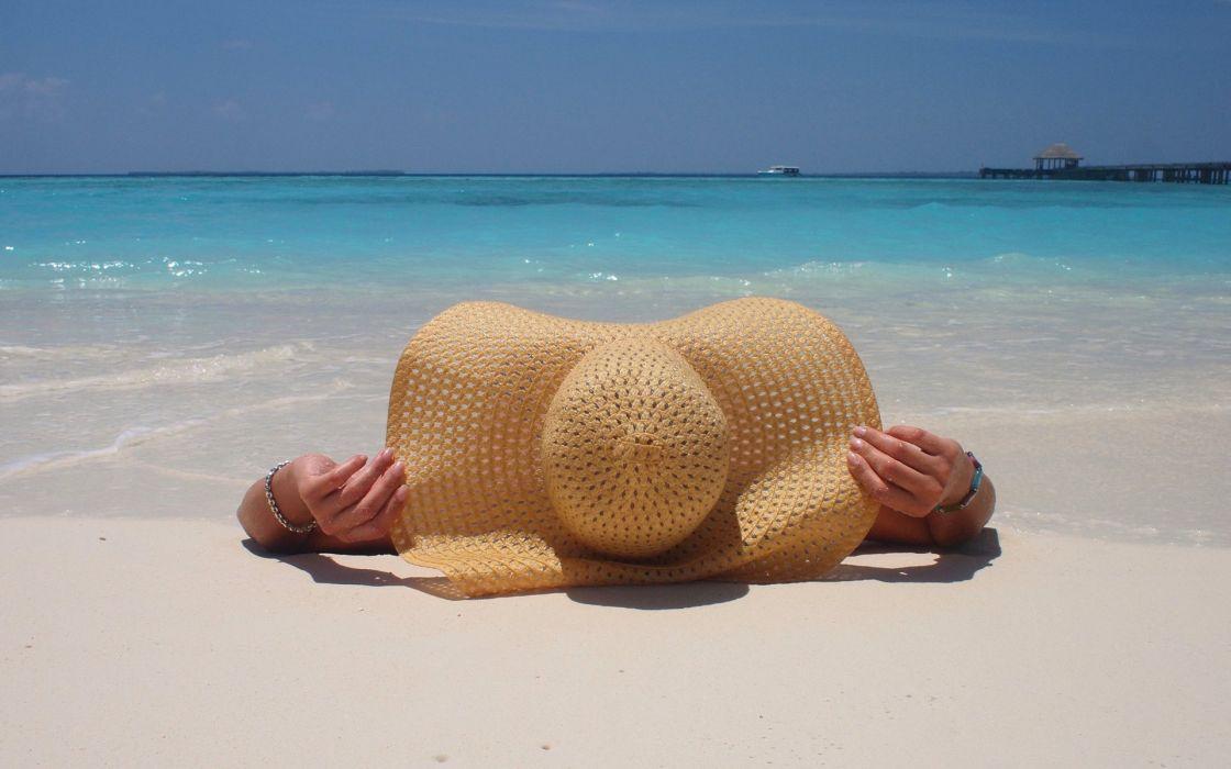 hat sky beach sand sea mood summer ocean model wallpaper