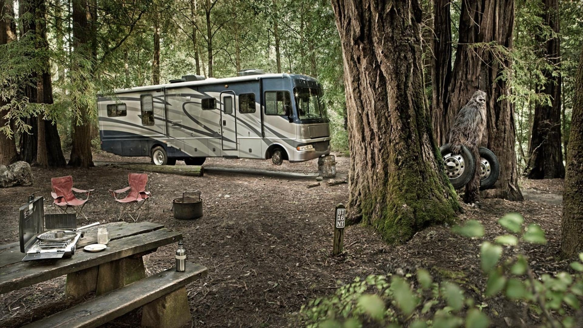 Humor Funny Motorhome Camper Creature Fantasy Forest HD Wallpapers Download Free Images Wallpaper [1000image.com]