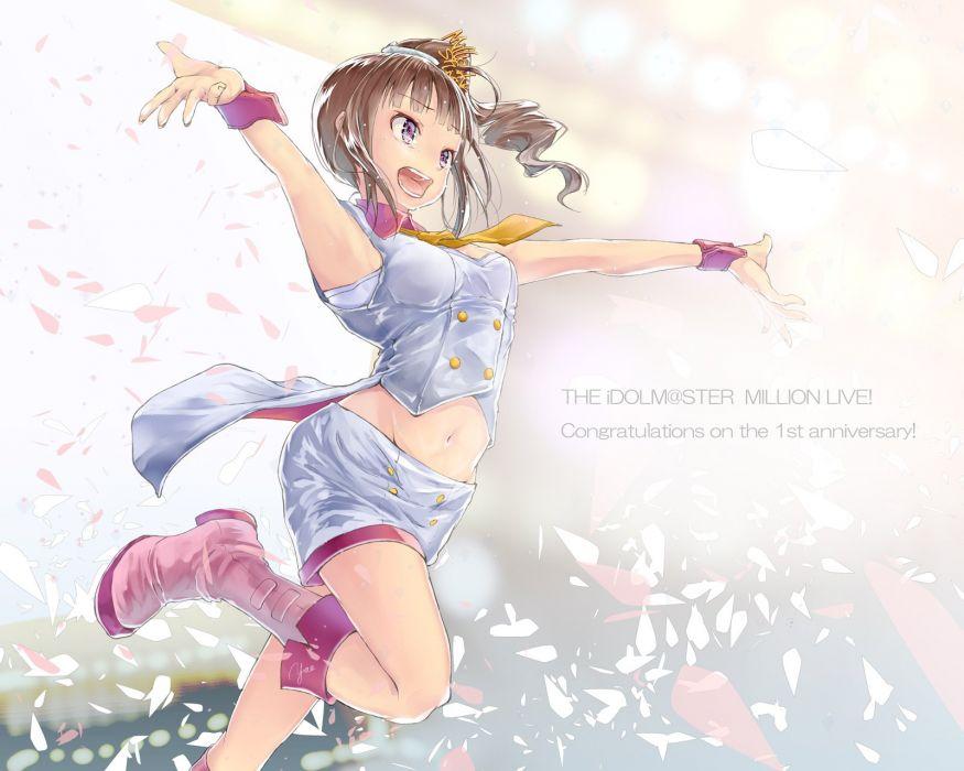 idolmaster boots brown hair idolmaster navel ponytail purple eyes tears yae (mono110) yokoyama nao wallpaper