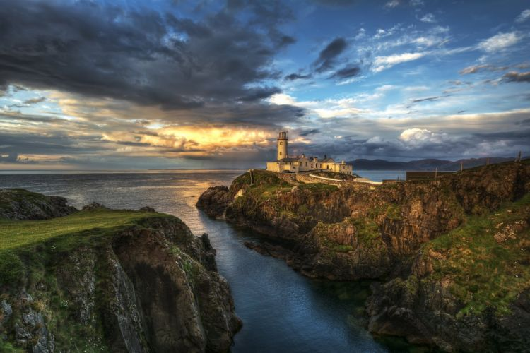Ireland County Donegal sea rocks lighthouse wallpaper