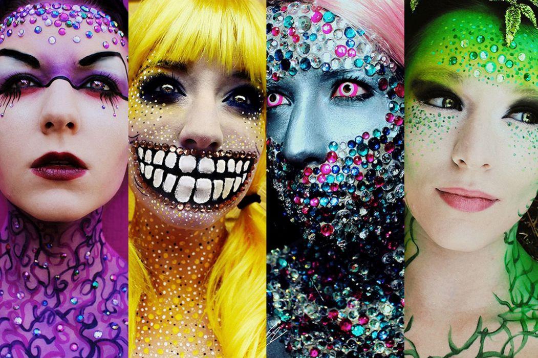jewelry cosplay fetish dark makeup girl psychedelic wallpaper