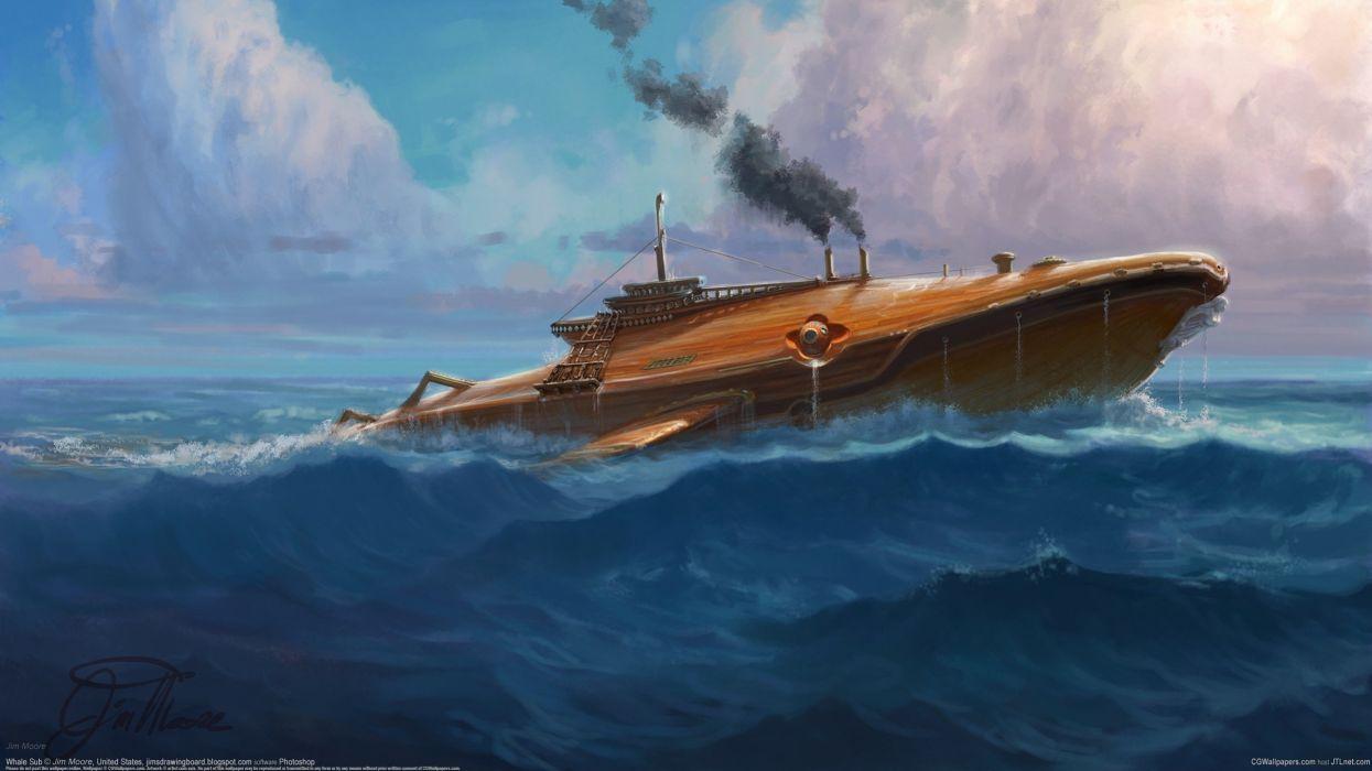 Jim Moore submarine sea whale ocean wallpaper