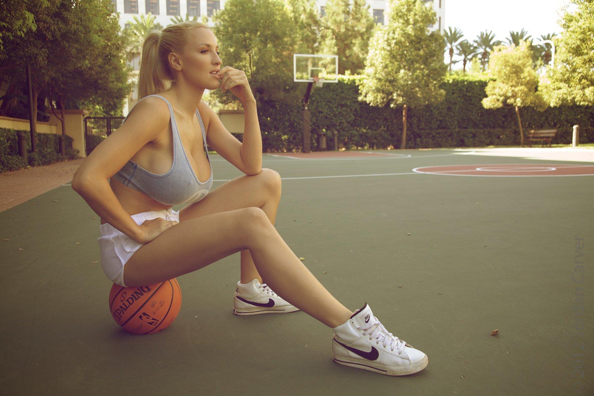 jordan carver blonde big breasts playground basketball ball shoes
