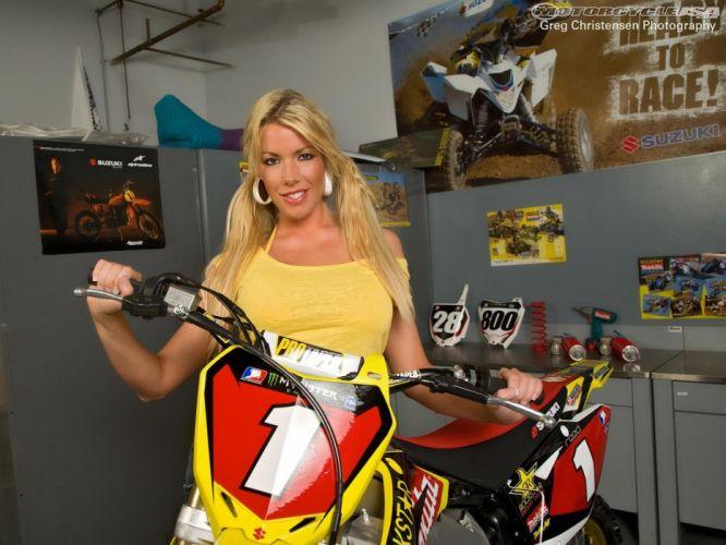 l motorbike bike motorcycle sexy babe blonde motocross moto dirtbike wallpaper