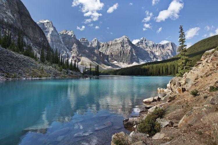 lake mountains landscape f wallpaper