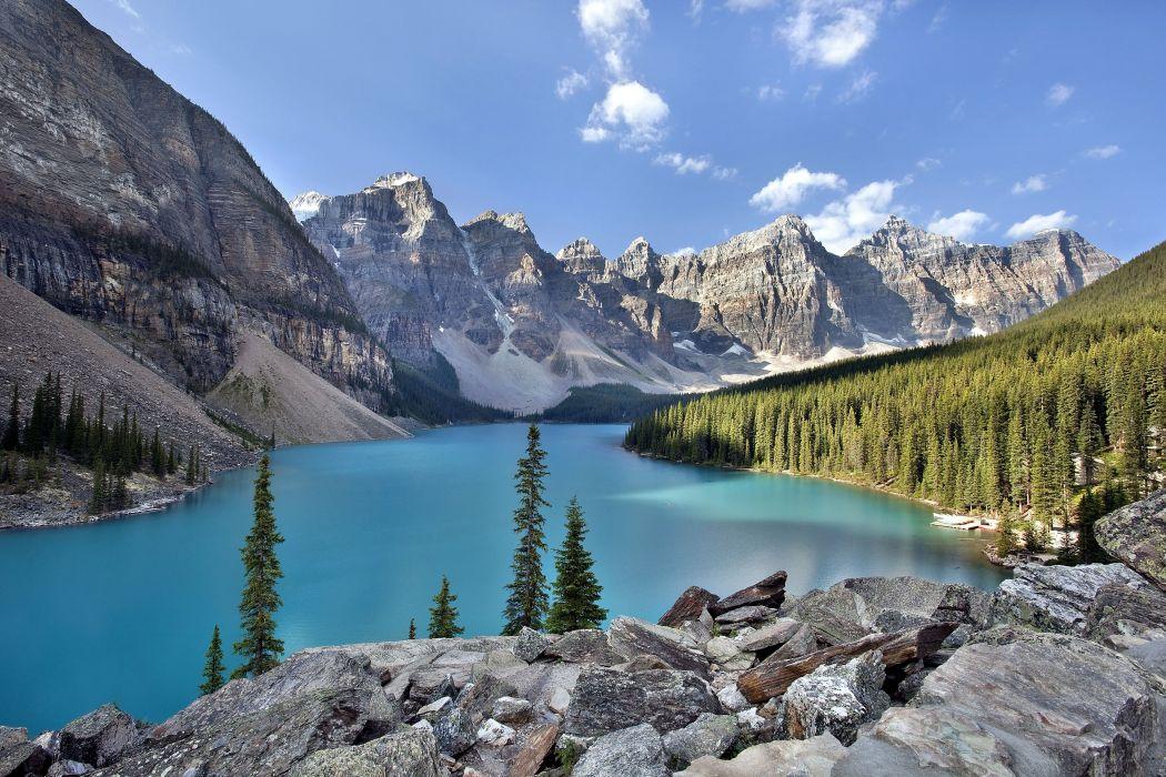 lake mountains landscape   s wallpaper