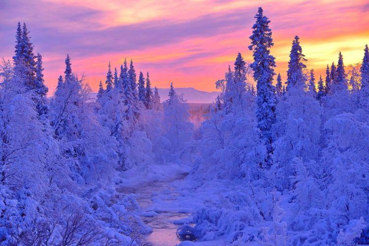 landscape river winter snow wallpaper