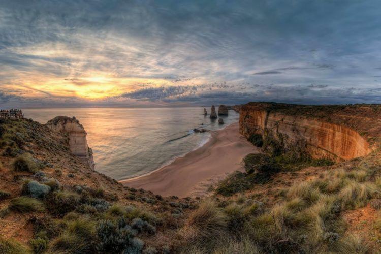 landscape nature ocean rocks sunset The Twelve Apostles nat_ Park Port Campbell Victoria Australia wallpaper