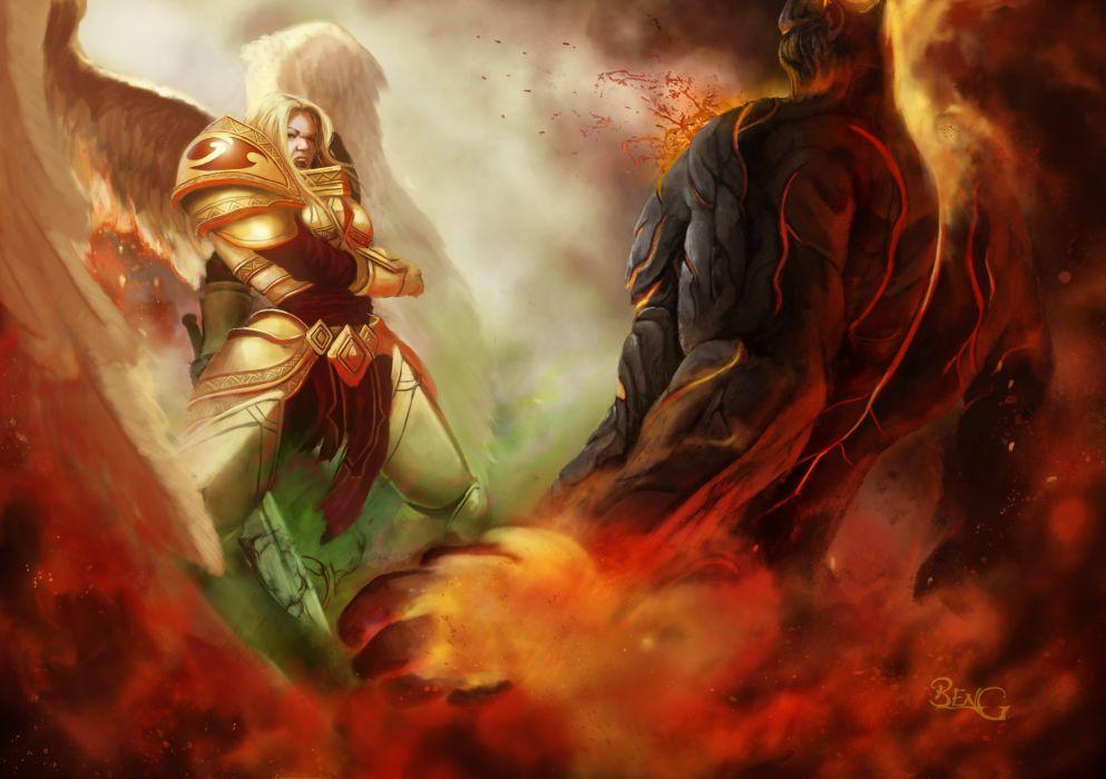 League of Legends Angel Battle Monster Games Fantasy armor wallpaper