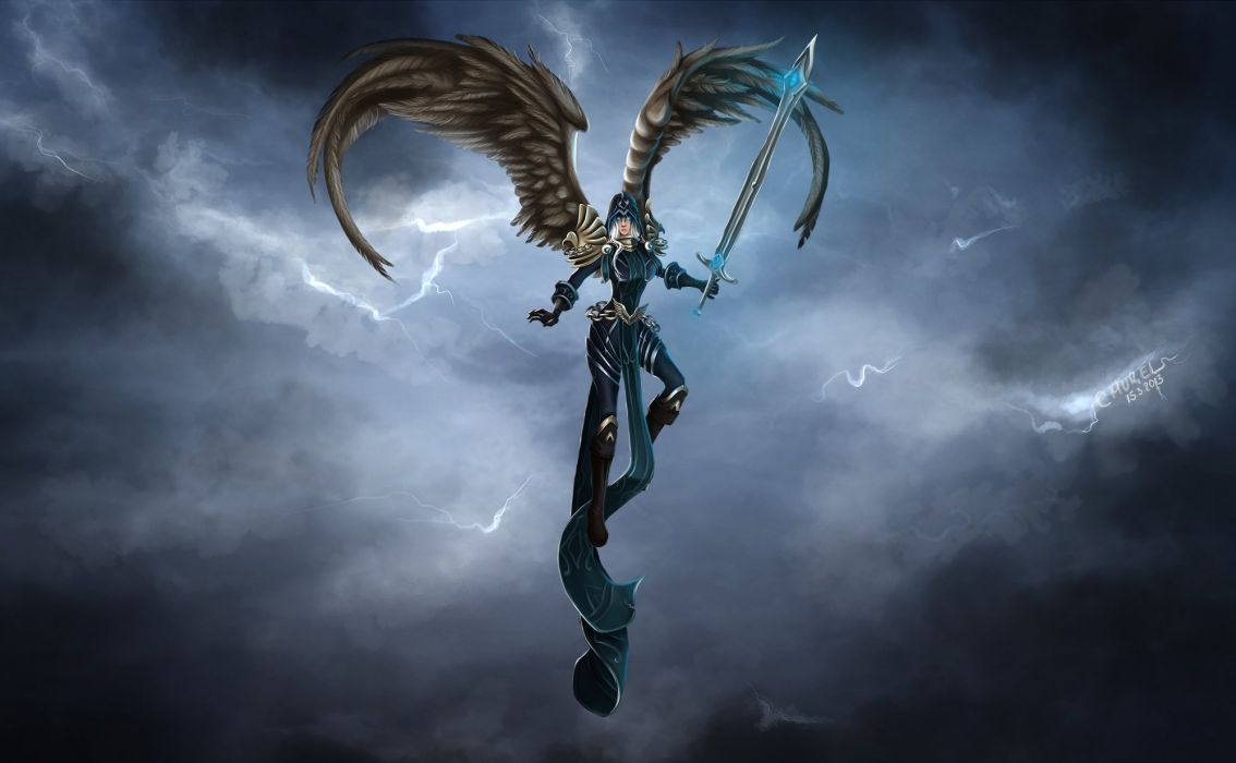League of Legends Warrior Kayle Swords Wings Games Fantasy angel wallpaper