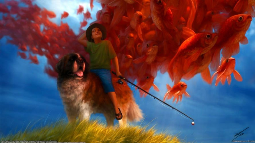 Liam Peters boy fisherman dog fishing rod fish wallpaper