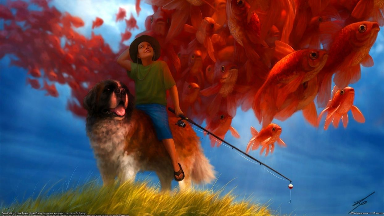 Liam Peters boy fisherman dog fishing rod fish wallpaper