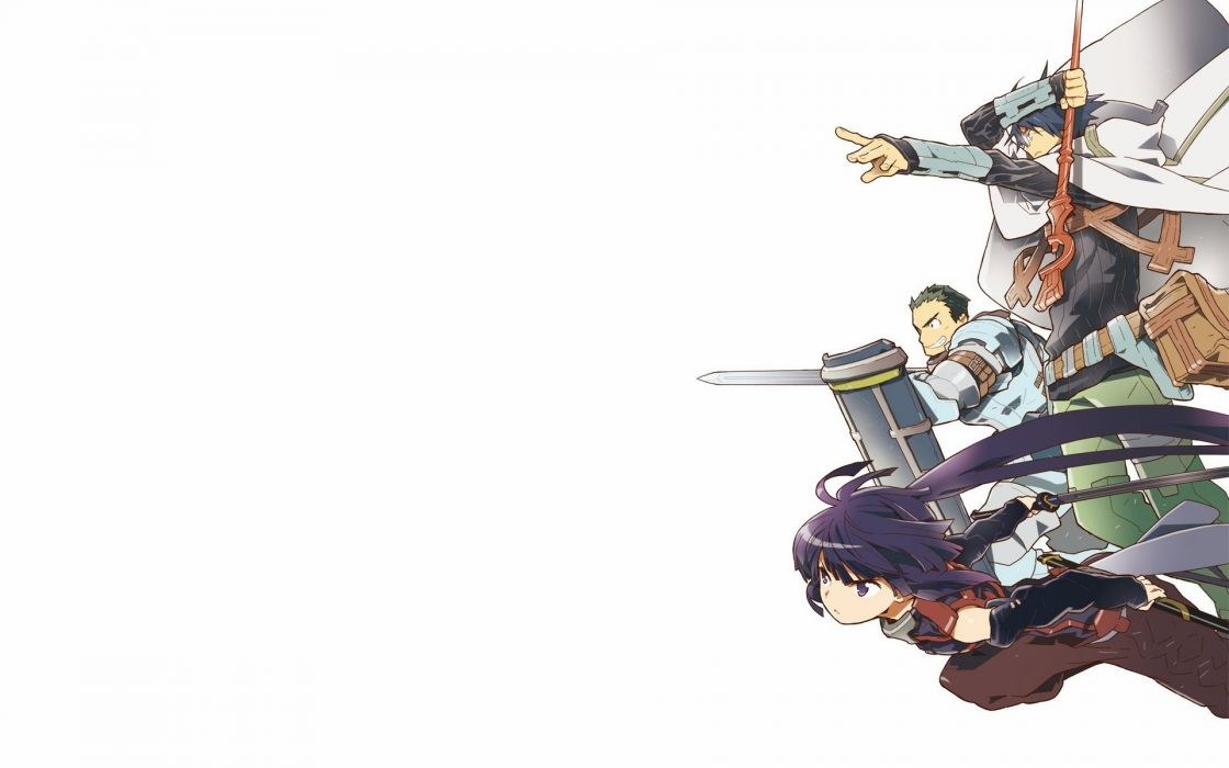 log horizon armor glasses jpeg artifacts log horizon long hair naotsugu ponytail possible duplicate purple eyes purple hair shiroe staff weapon wallpaper