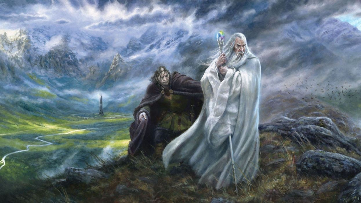 lord of the rings lotr wizard painting wallpaper