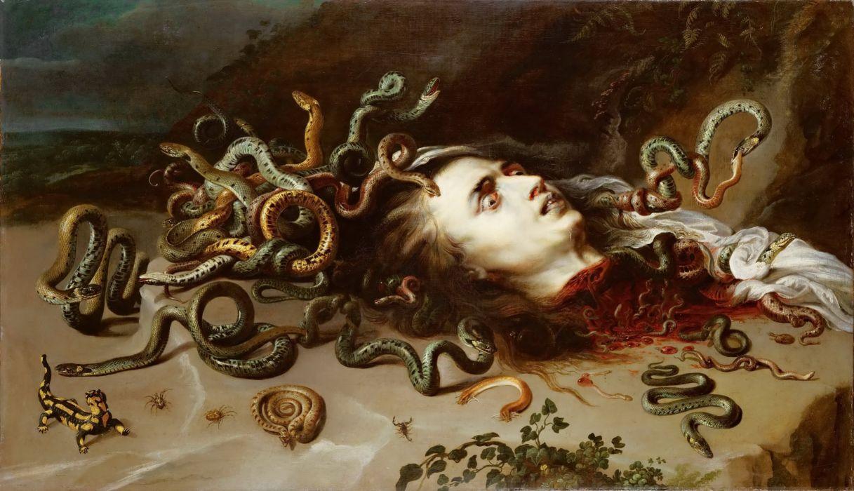 medusa serpent snake blood fantasy dark horror wallpaper