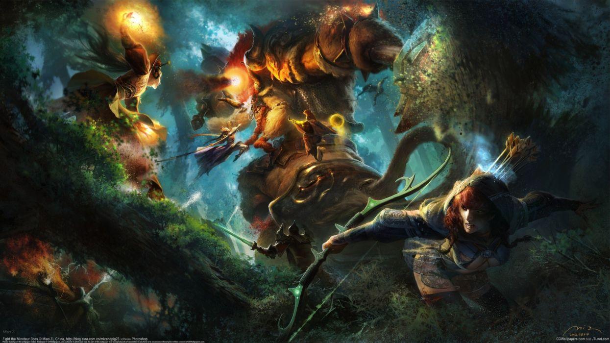 Miao Zi girl monster monster magic battle bow battle wallpaper