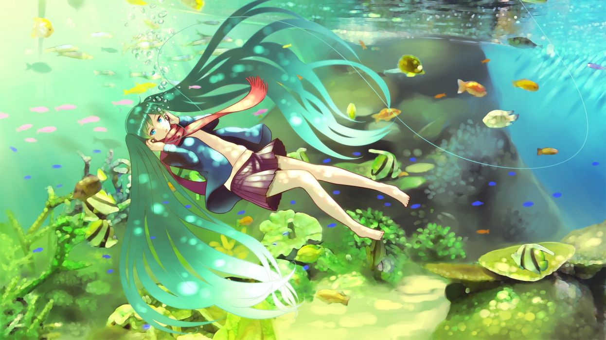 Miku Anime Vocaloid Underwater Fish wallpaper