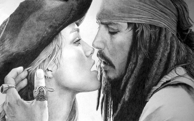 Keira Knightley Pirates of the Caribbean Johnny Depp Captain Jack Sparrow Elizabeth Swann wallpaper