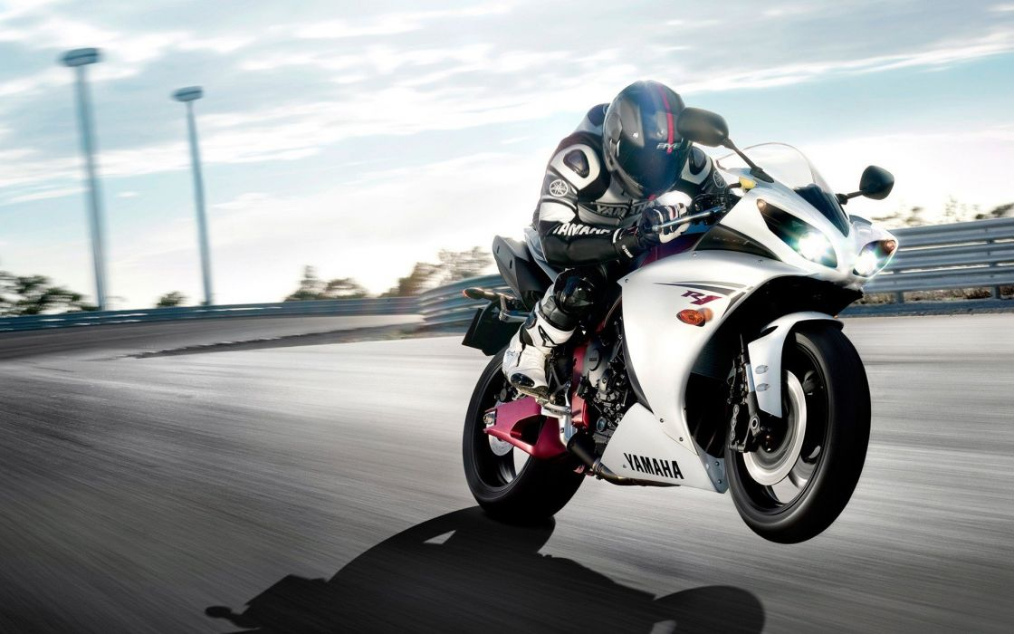 racer motorbikes yamaha R1 wheelie speed wallpaper