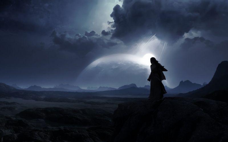moon fantasy mood landscape wallpaper