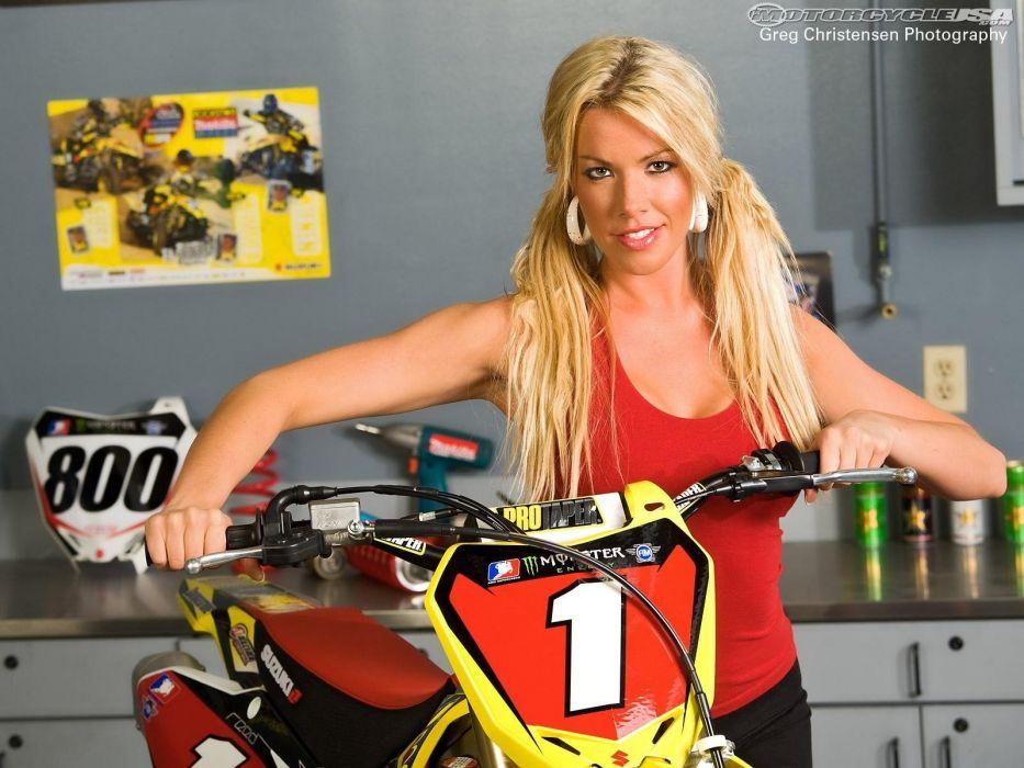 motorbike bike motorcycle sexy babe blonde motocross moto    f wallpaper