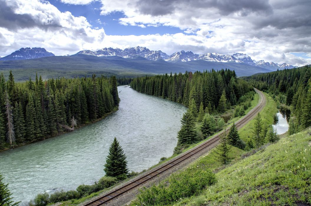 mountain river railway forest trees landscape wallpaper