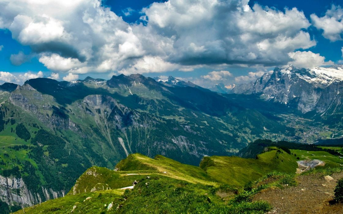 Mountains Switzerland Bern Lauterbrunnen horizon sky clouds wallpaper