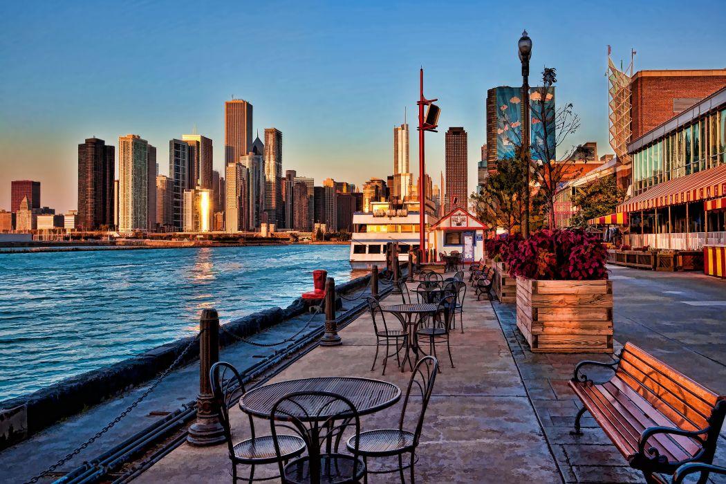 Navy Pier sunrise Chicago t wallpaper