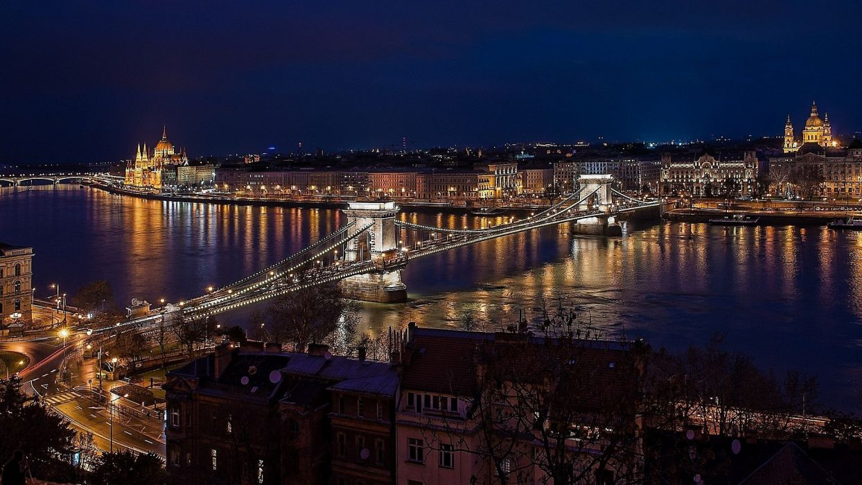 Night Budapest bridge city wallpaper