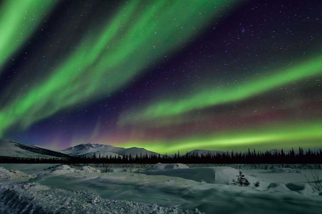 Northern Lights sky night winter star wallpaper