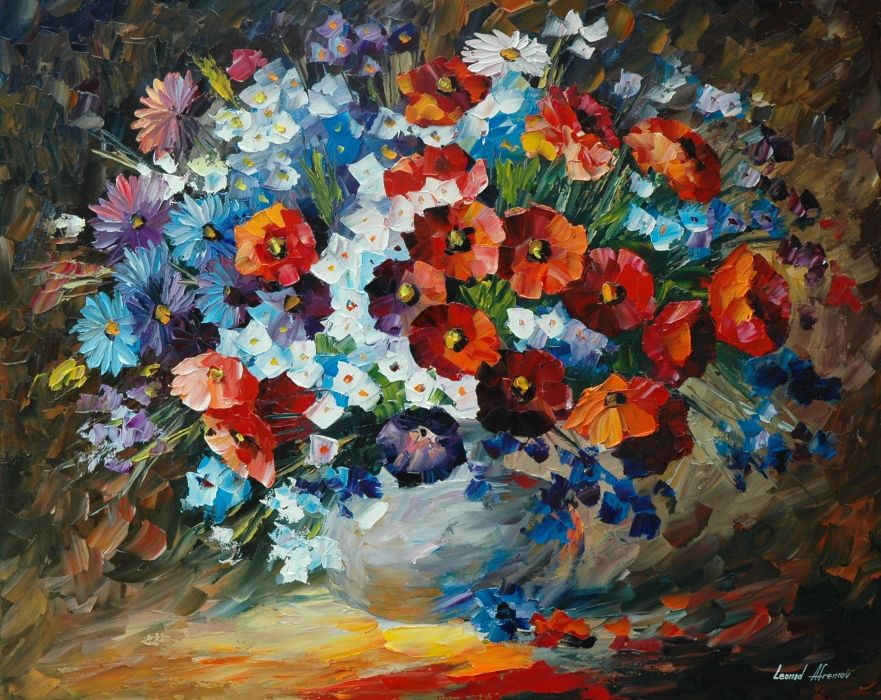 painting leonid afremov paintings flowers wallpaper