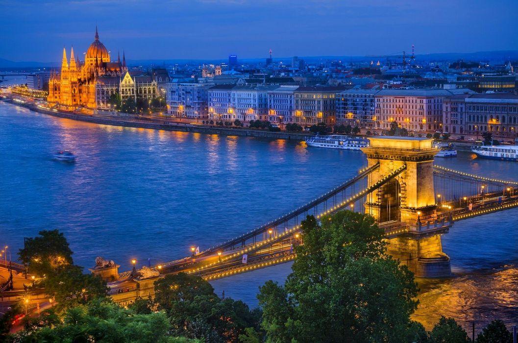 Parlamento y Puente de las Cadenas Budapest Hungary bridge wallpaper