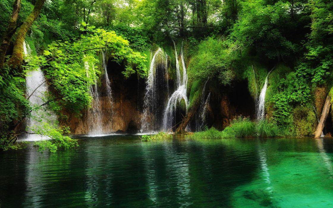 Parque Nacional de los Lagos de Plitvice Croacia waterfall wallpaper