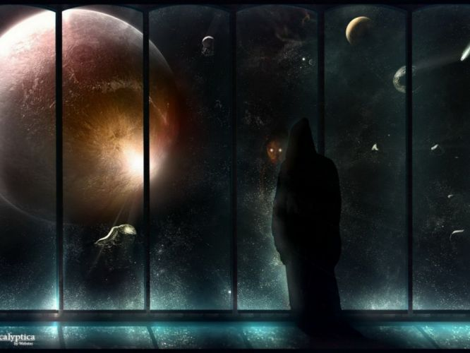 planet space spaceship window sci-fi wallpaper