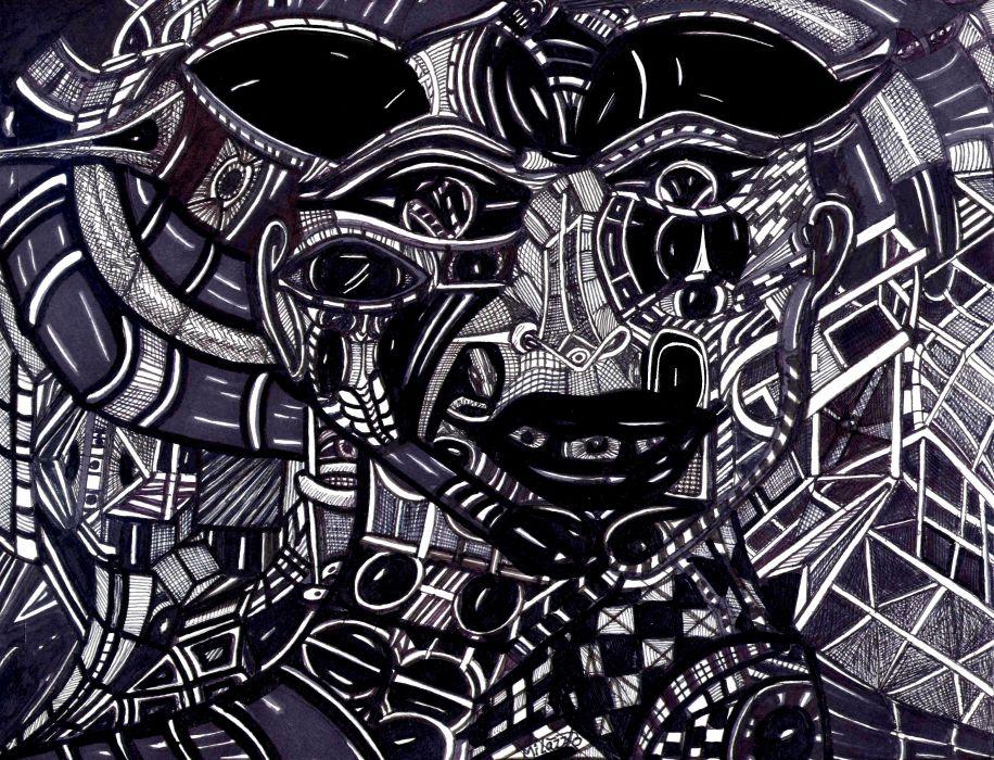 Psychedelic Art Dark Fantasy Wallpaper