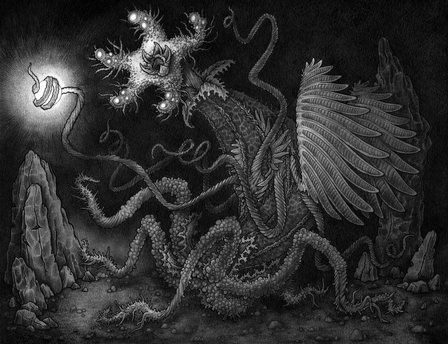 psychedelic fantasy dark horror sci-fi monster creature wallpaper