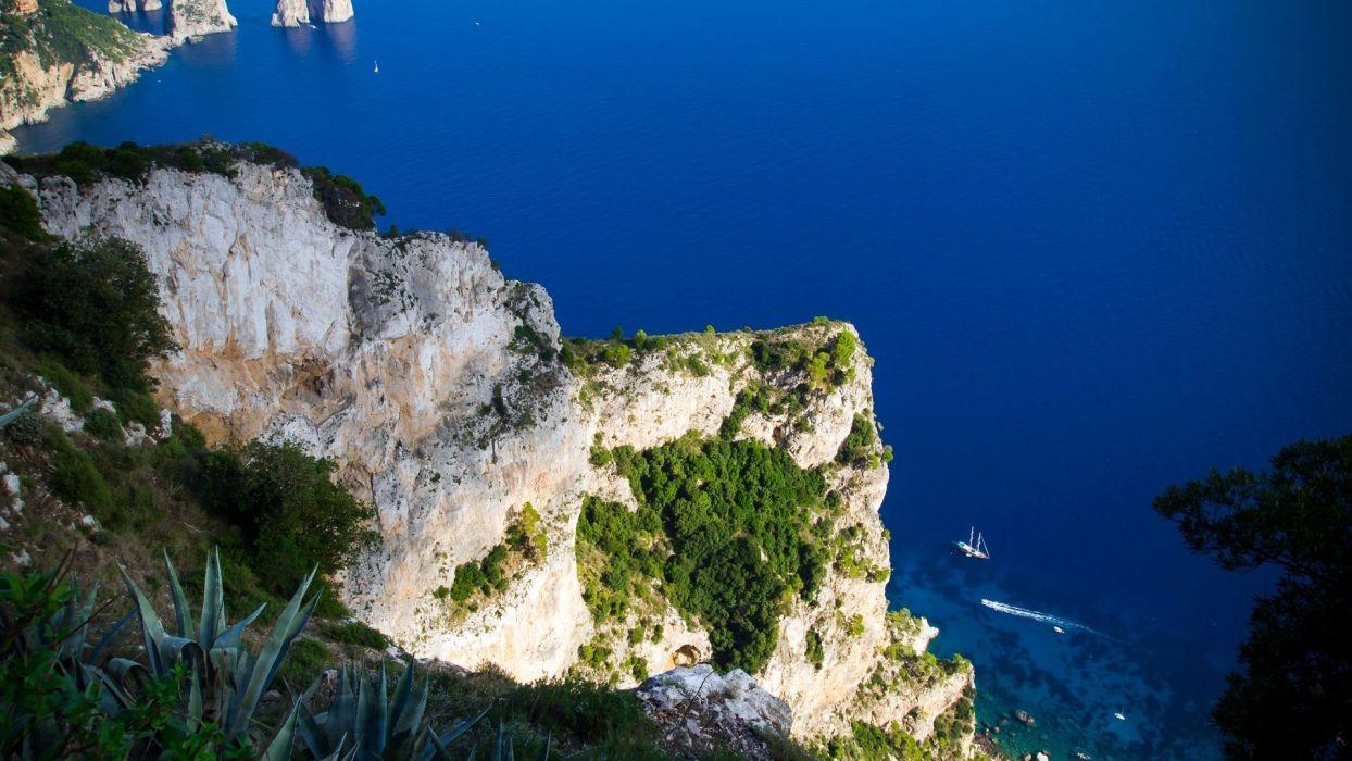 Repubblica italiana Provincia di Napoli Campania Capri cliff wallpaper
