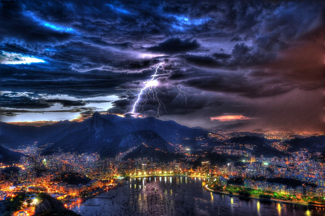 Rio de Janeiro Brazil night lightning     h wallpaper
