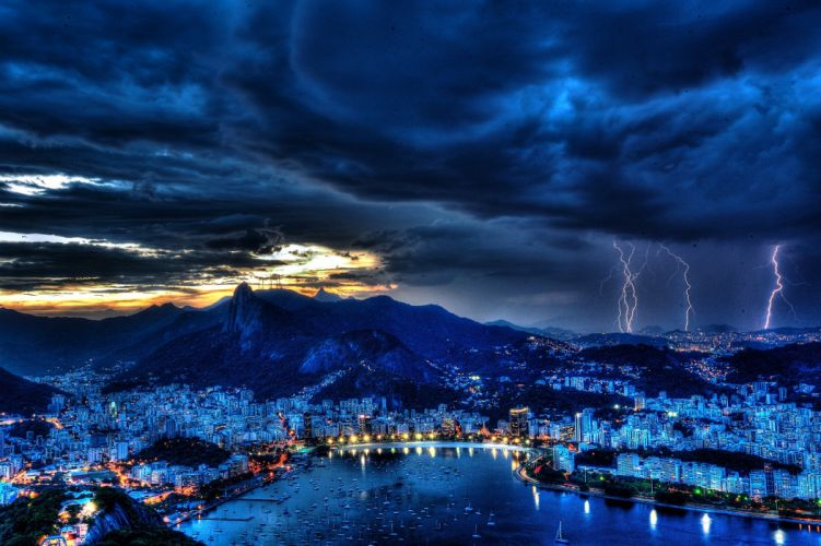 Rio de Janeiro Brazil night lightning wallpaper