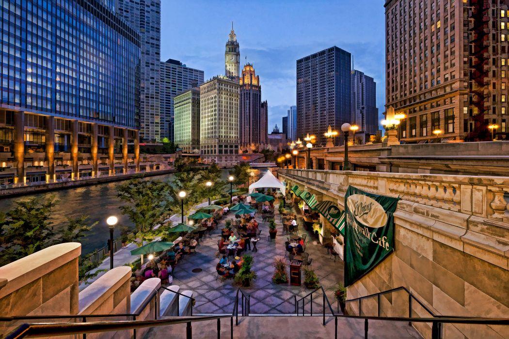 Riverside restaurant along Chicago USA wallpaper