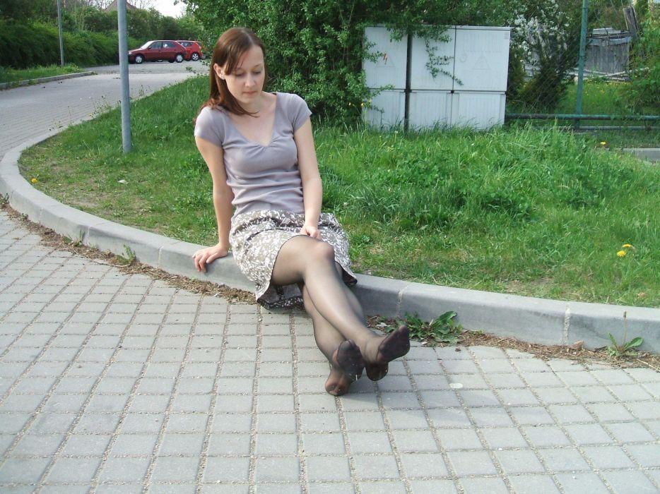road pantyhose stocking tights nylon sexy babe blonde      g wallpaper