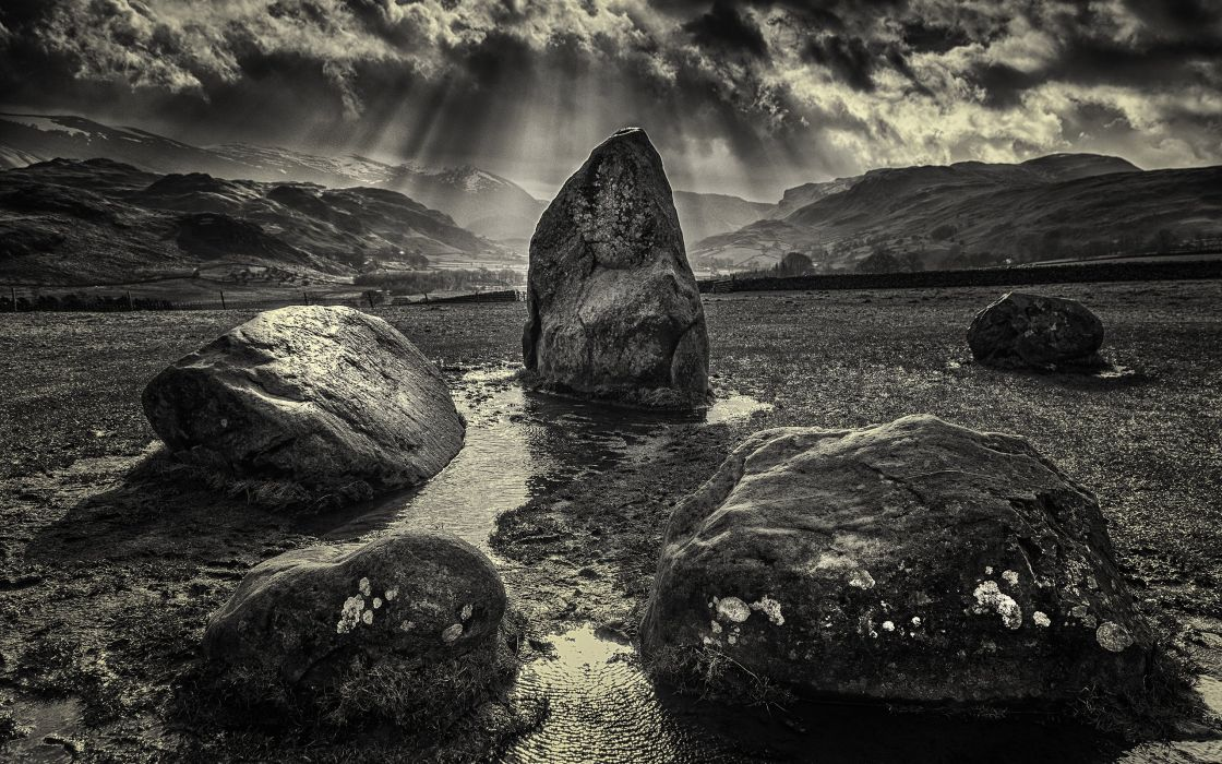 Rocks Stones BW Sunlight wallpaper