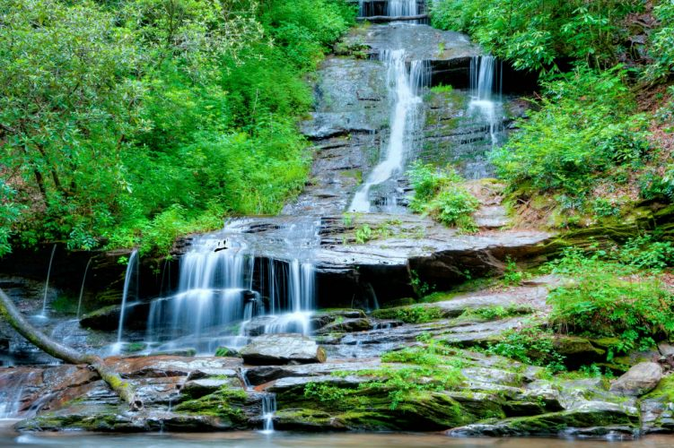 rocks waterfall trees landscape wallpaper