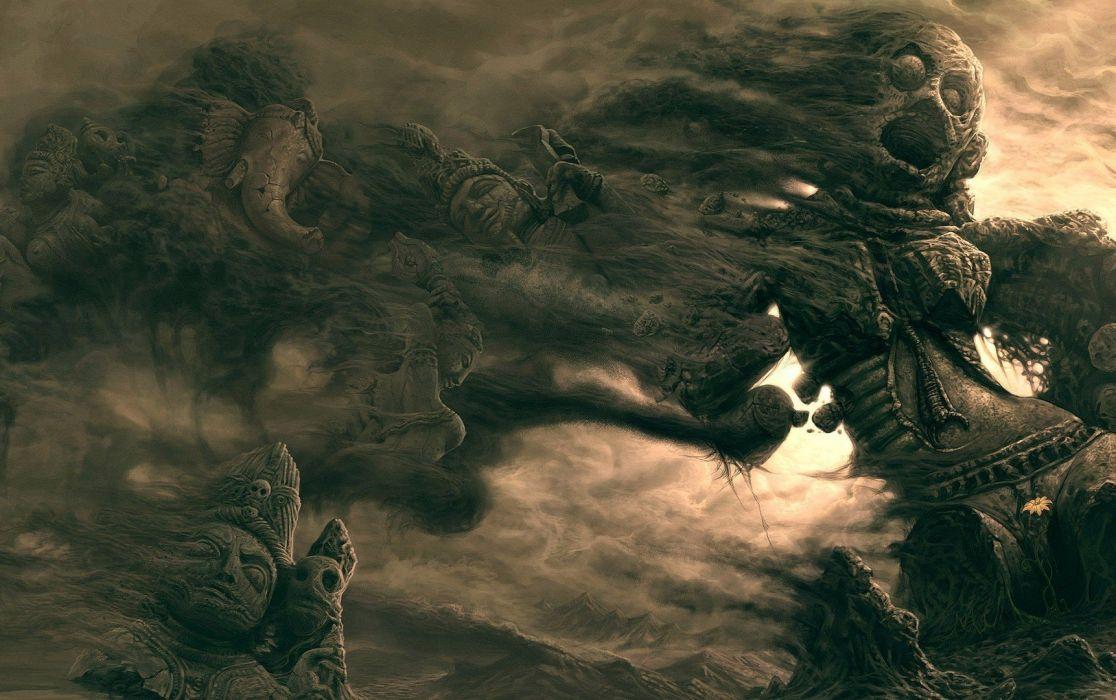 sand desert dark horror fantasy wallpaper