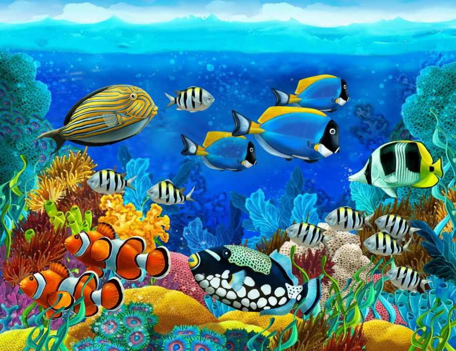 Sea Seabed Fish Corals Underwater Ocean Tropical G