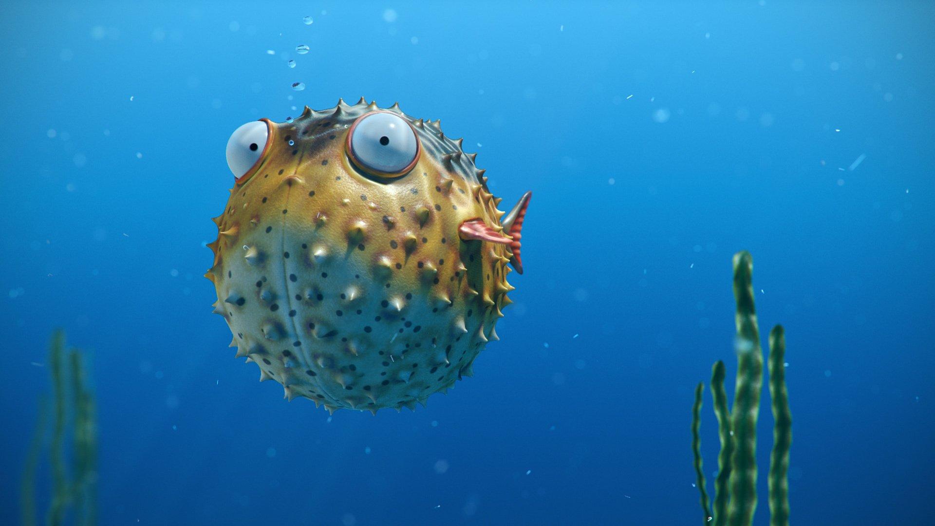 Sea bubbles spikes eye ball fish ocean underwater for Disegno pesce palla