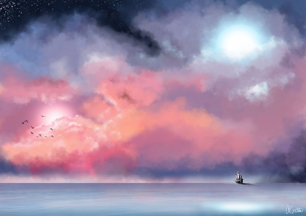 sea mist painting sky ship fantasy ocean mood wallpaper
