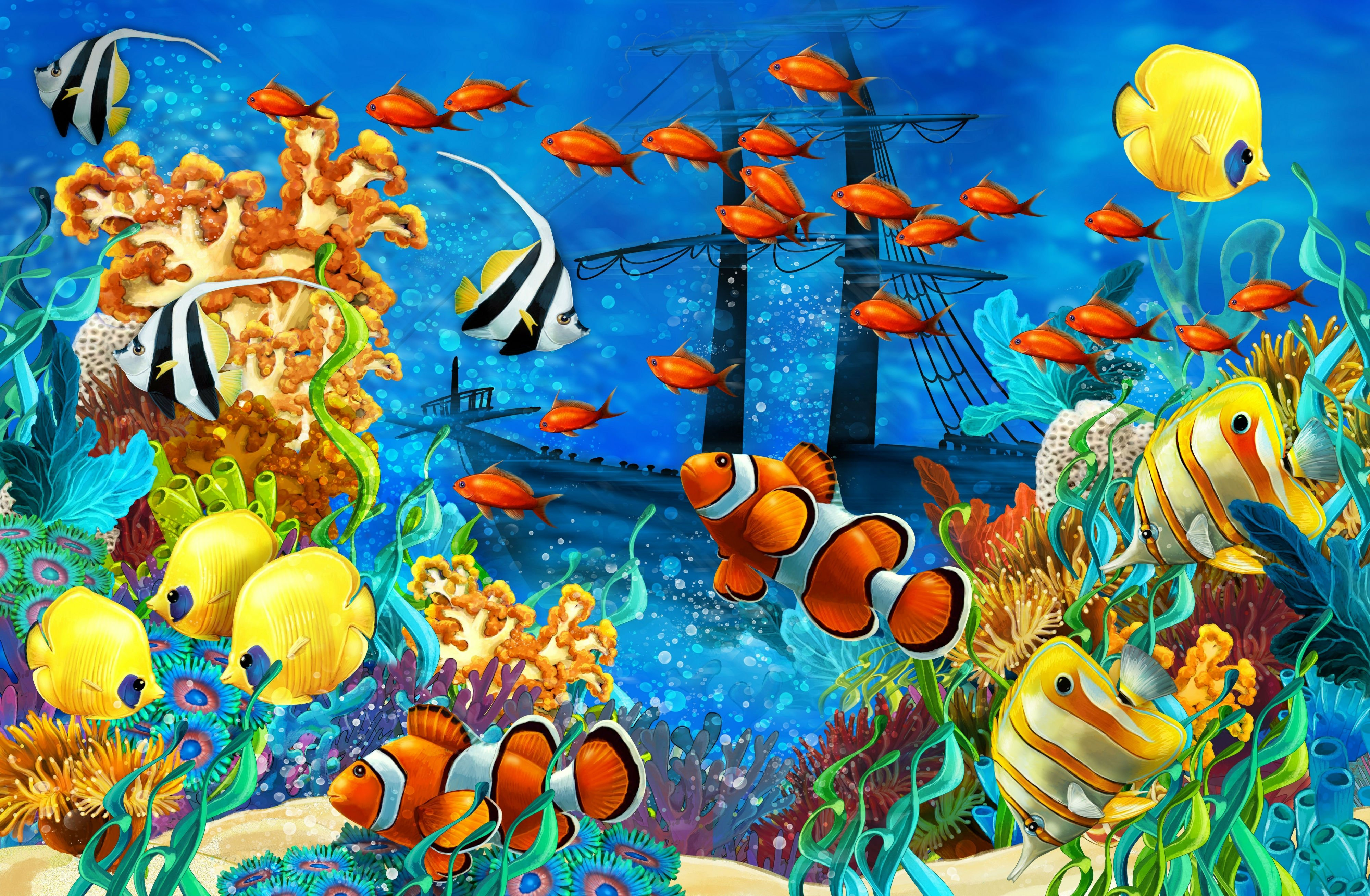 Shipwreck sea seabed fish corals underwater ocean tropical for Fish scenery drawing